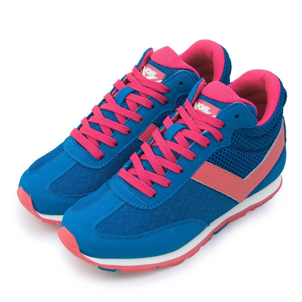 PONY繽紛韓風中筒復古慢跑鞋祕密花園系列藍桃紅54W1SO65BL