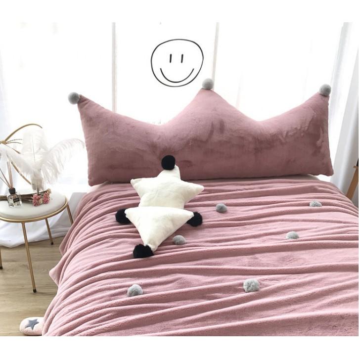 優樂美 ins水貂毛球皇冠床頭靠背 毛絨大靠墊可拆卸含芯1/1.2/1.5/1.8米 靠枕