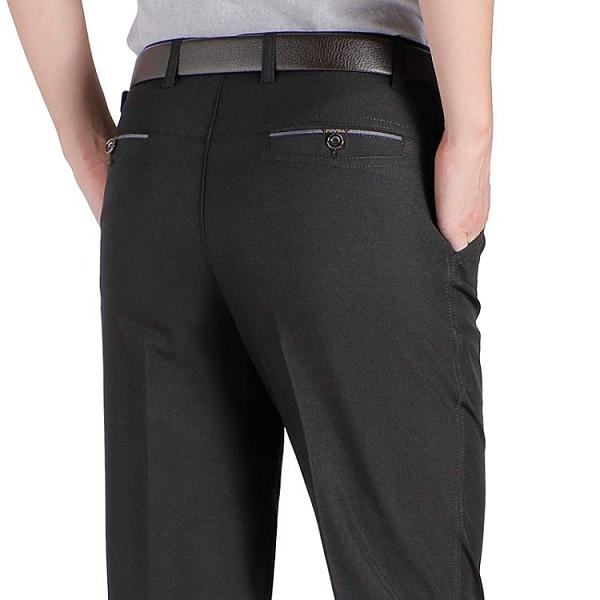 夏季薄款西褲男士中年休閑褲直筒寬松抗皺中老年男褲爸爸裝長褲子 霓裳細軟