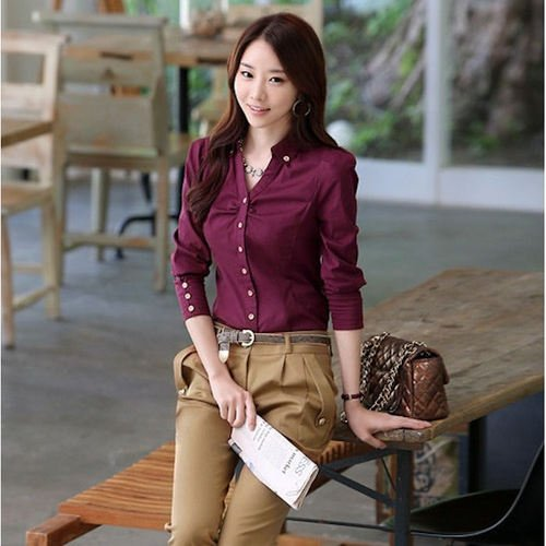 【CosmoPINK 粉紅教主】韓版早春装新款修身簡約多色百搭襯衫TLW0002