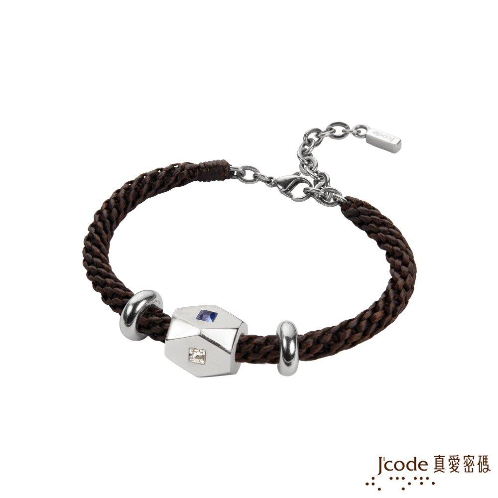 J'code真愛密碼 獨特純銀/蠟繩編織男手鍊