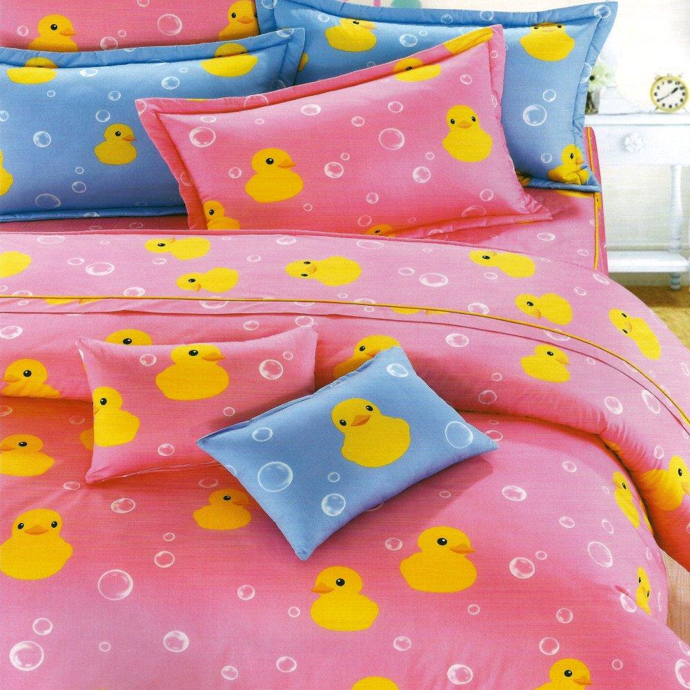 【伊比鴨鴨】台灣製造[3.5呎x6.2呎]三件式單人(100%高級純棉)(薄)被套床包組-粉紅色