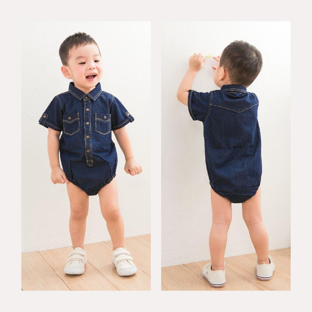 【Limitmax】Baby 0歲~2歲 嬰兒 獨家設計舒適丹寧包屁衣- 深淺兩色  男寶寶 牛仔連身裝 台灣製造