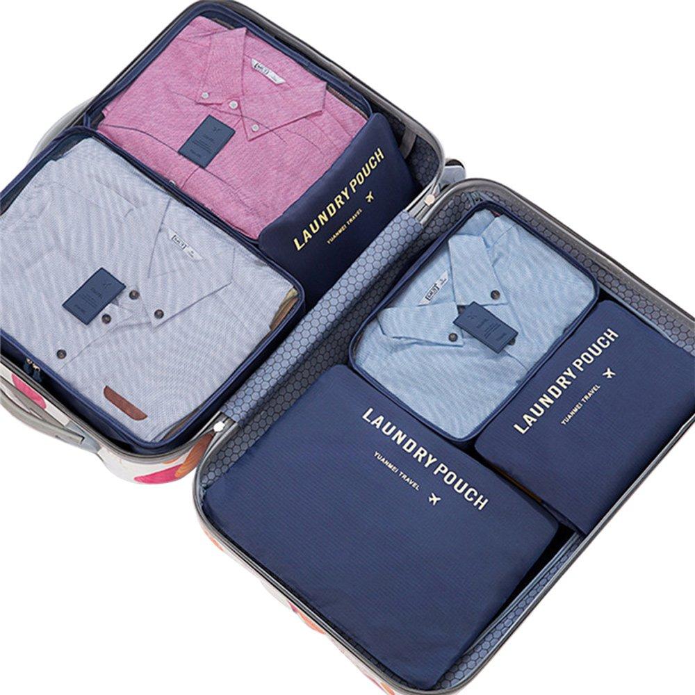 PUSH!旅遊用品旅行收納袋六件套藏青色S56-2
