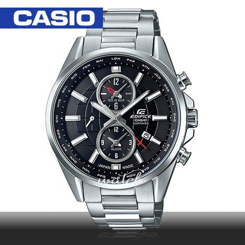 【CASIO 卡西歐 EDIFICE 系列】尊爵紳士錶款 藍寶石 低電量警告 不鏽鋼 石英男錶(EFB-302JD)