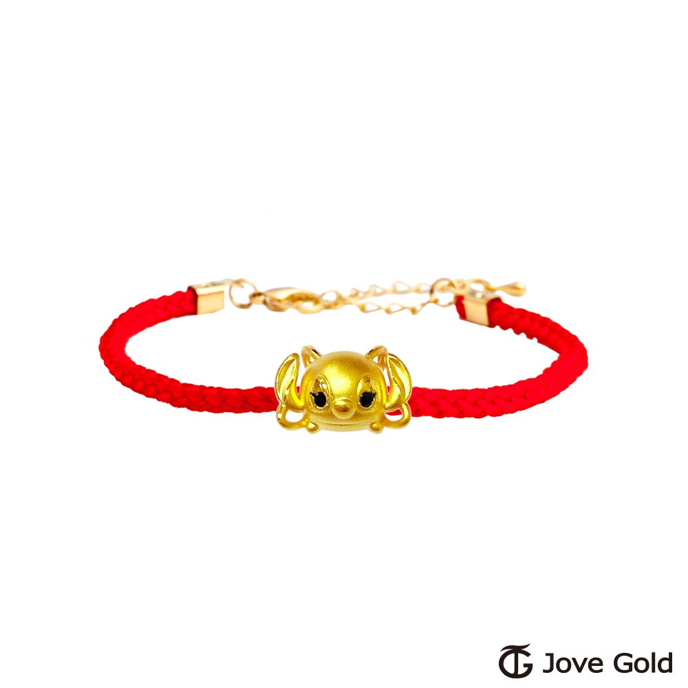Disney迪士尼系列金飾 TSUM安琪黃金串珠 編繩手鍊款
