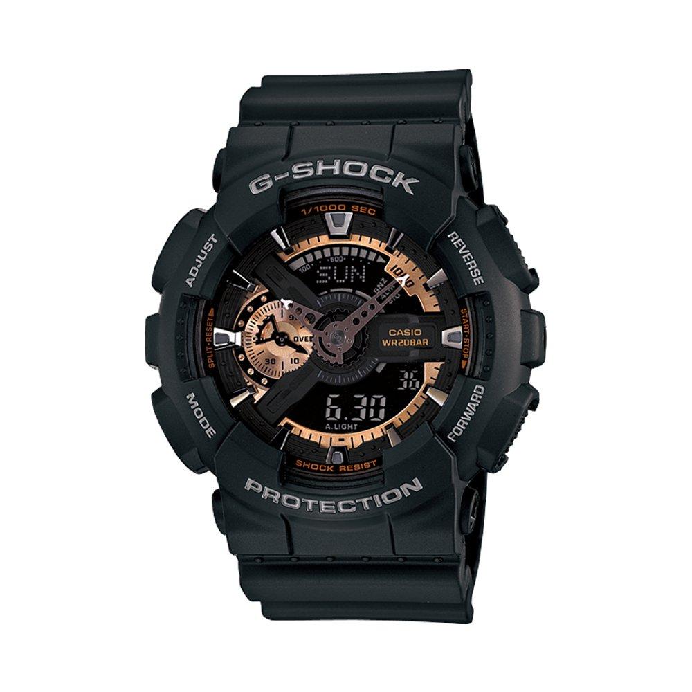 【CASIO】G-SHOCK 復古重機型裝置機械感雙顯錶-黑 (GA-110RG-1A)