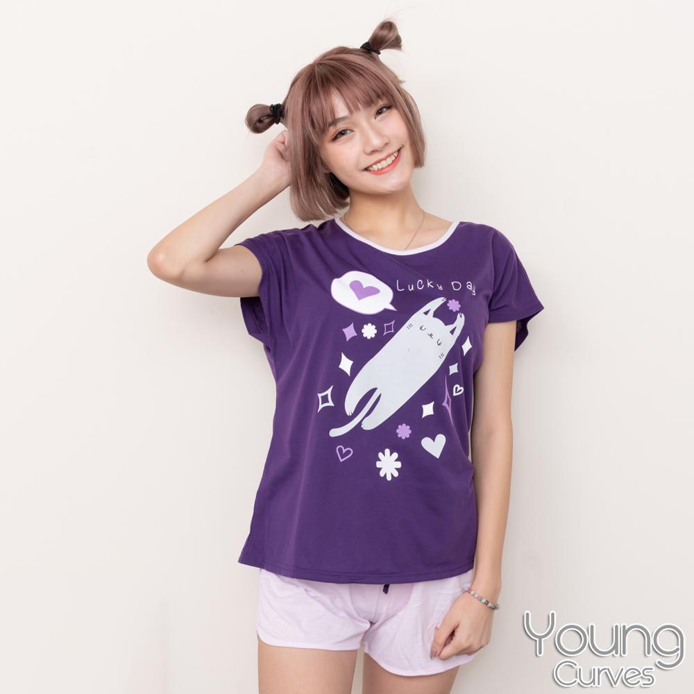 Young Curves 彈性棉質短袖兩件式睡衣(C01-100731搞怪喵星人)
