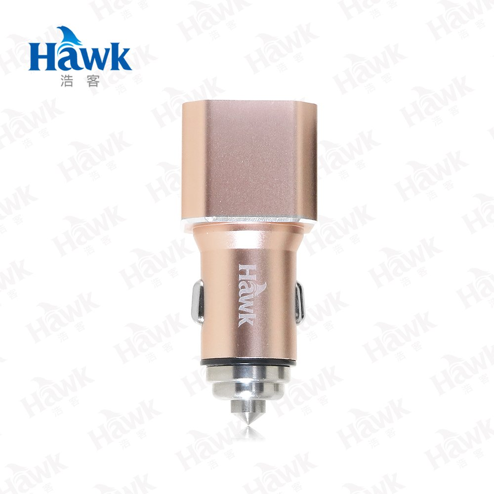 Hawk 雙USB電壓顯示車用充電器-金
