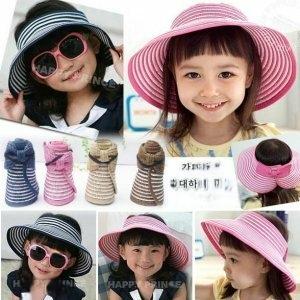 韓版《甜美條紋款》造型空頂帽~遮陽帽