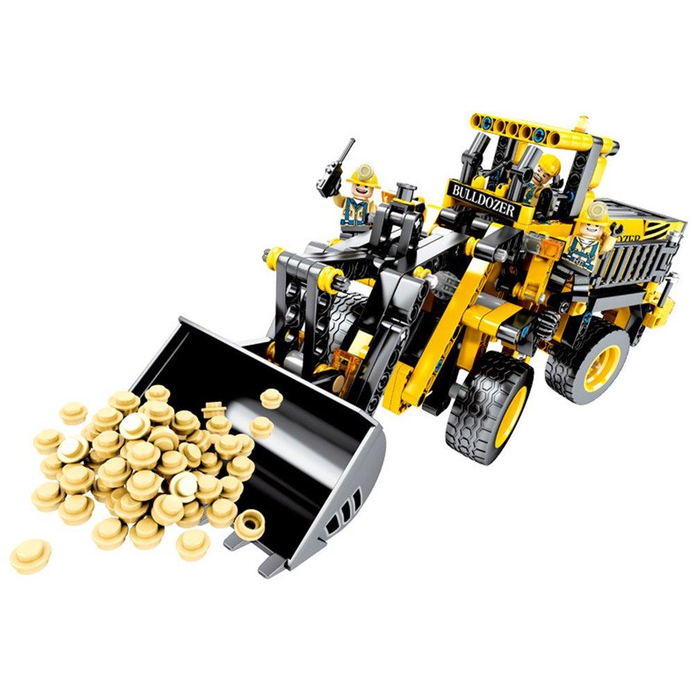 【孩子國】大型立體拼裝推土機/挖土機工程積木組(688pcs)~與樂高相容