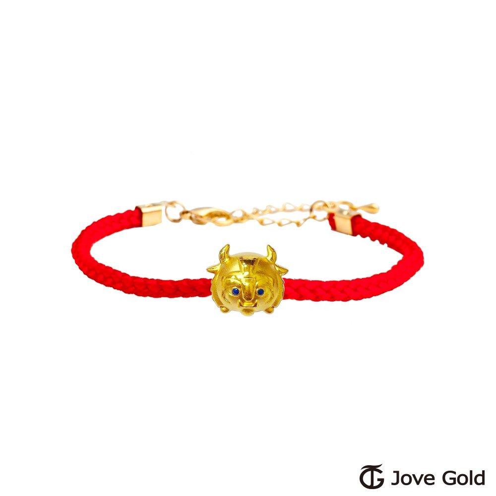 Disney迪士尼系列金飾 TSUM野獸黃金串珠 編繩手鍊款