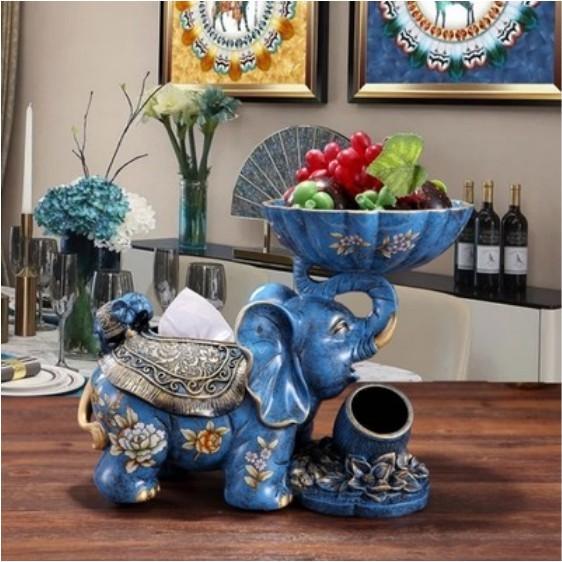一件免運 美式高檔創意紙巾盒抽紙盒客廳收納盒大象果盤花瓶裝飾擺件