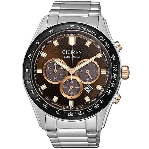 【CITIZEN】星辰 Eco-Drive光動能 三眼計時運動手錶 CA4456-83X 咖啡金 43mm