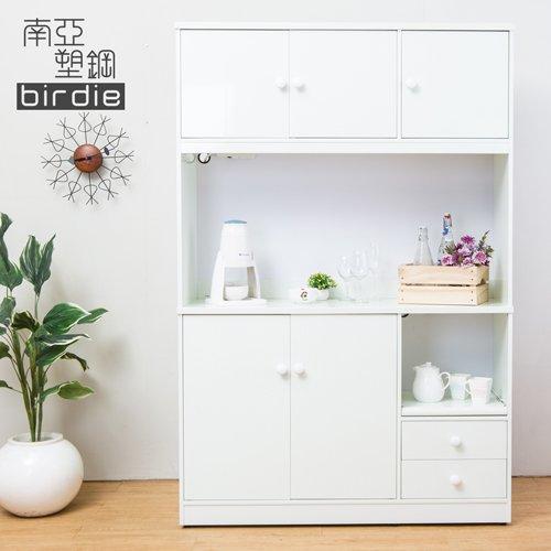 Birdie南亞塑鋼-4.2尺五門二抽塑鋼電器櫃/收納餐櫃(白色)