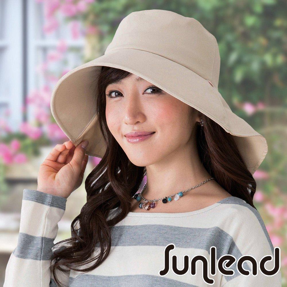 Sunlead 優雅美人款 防曬遮熱寬緣護頸抗UV遮陽軟帽 (淺褐色)