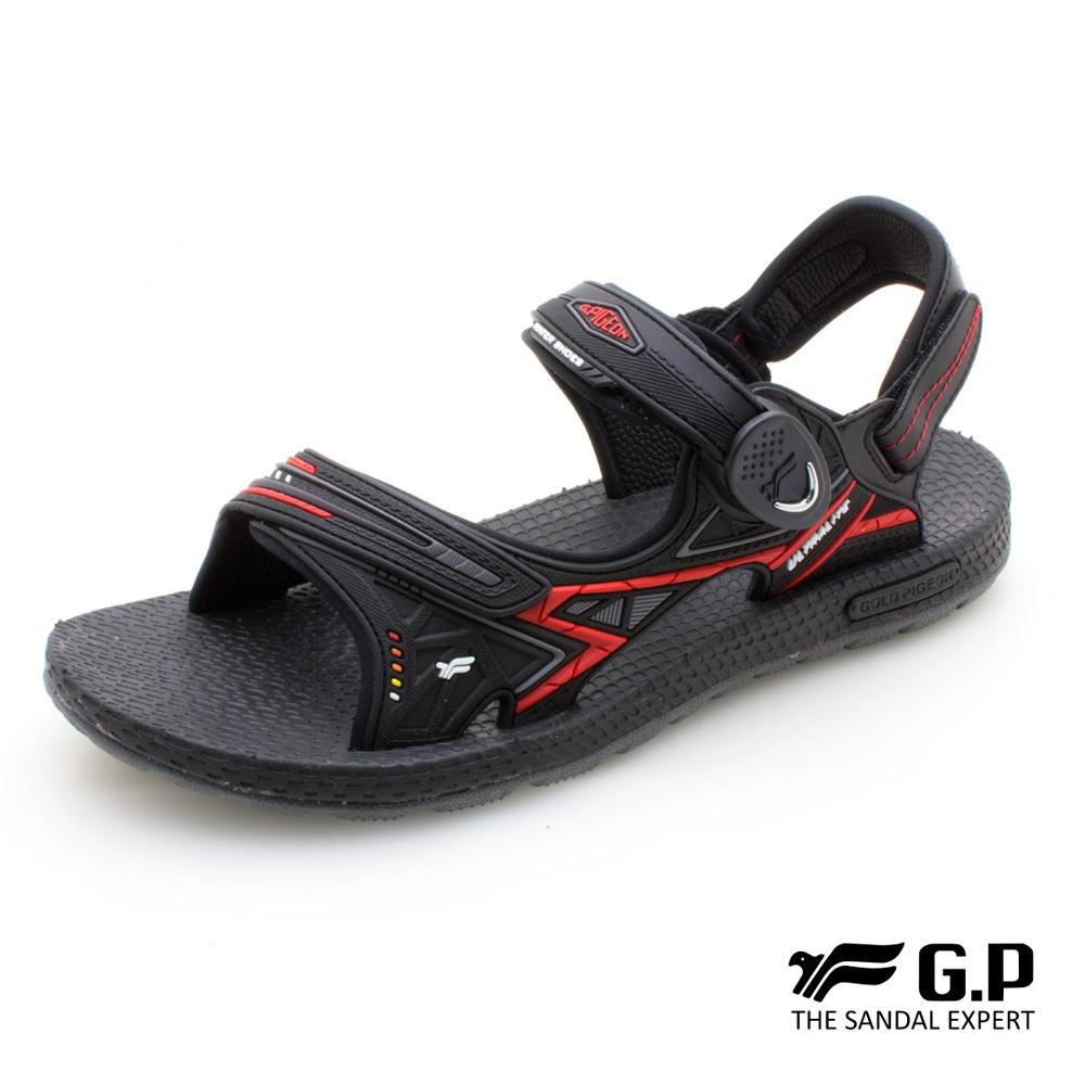 【G.P 超羽量無重力磁扣兩用涼拖鞋】G0790M-14 黑紅色 (SIZE:39-44 共三色)