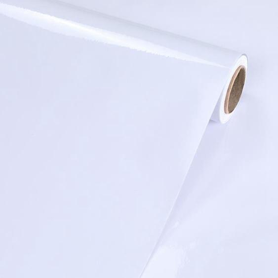牆紙 牆紙自黏PVC防水烤漆牆貼純白色即時貼櫥櫃翻新貼紙自黏門桌家具全館促銷限時折扣