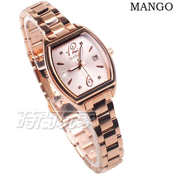(活動價) MANGO 浪漫時光 酒桶型 鑲鑽 女錶 防水 日期視窗 藍寶石水晶 不銹鋼 玫瑰金 MA6760L-13R