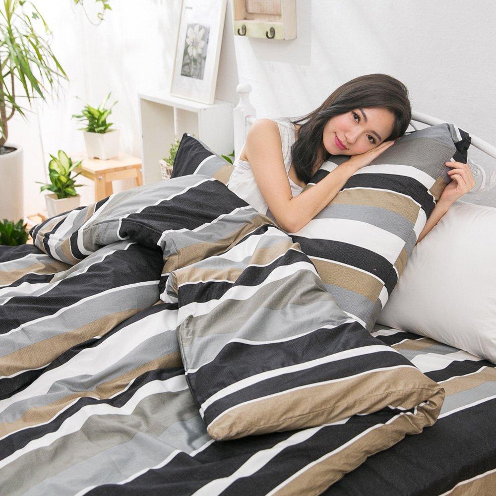 【eyah宜雅】全程台灣製100%頂級精梳棉雙人床包枕套三件組-黑白年少不識愁滋味