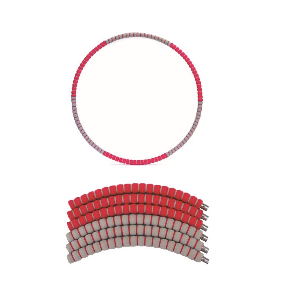 PUSH!拼接式鋅合金鋼管泡棉可調節加重設計呼拉圈瘦腰圈健身器材(加重款)H27-1紅色