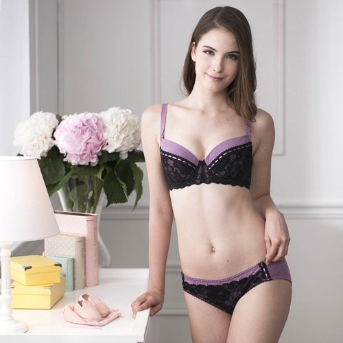 貝恩 時尚性感孕哺內衣褲組 (海芋紫)