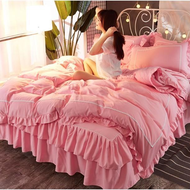 一件免運 春夏韓版被單 枕套公主風 純棉床裙 雙層裙擺四件套 全棉被套1.5/1.8m床罩純色床上用