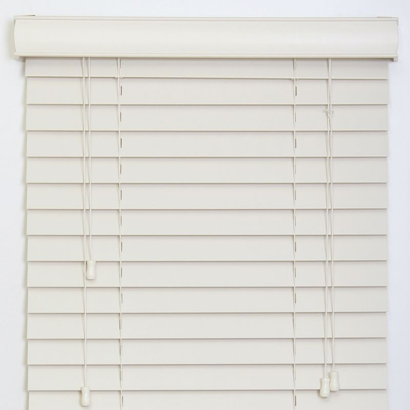 50mm Smooth Slat Traditional PVC Foam Wood Faux Wood Window Venetian Blinds 60x225 50 Stone