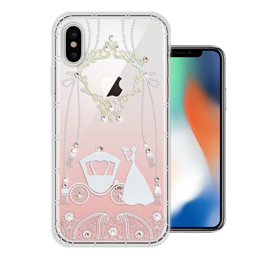 iPhone Xs / X 5.8吋 奧地利水晶彩繪空壓手機殼(精靈捧花)