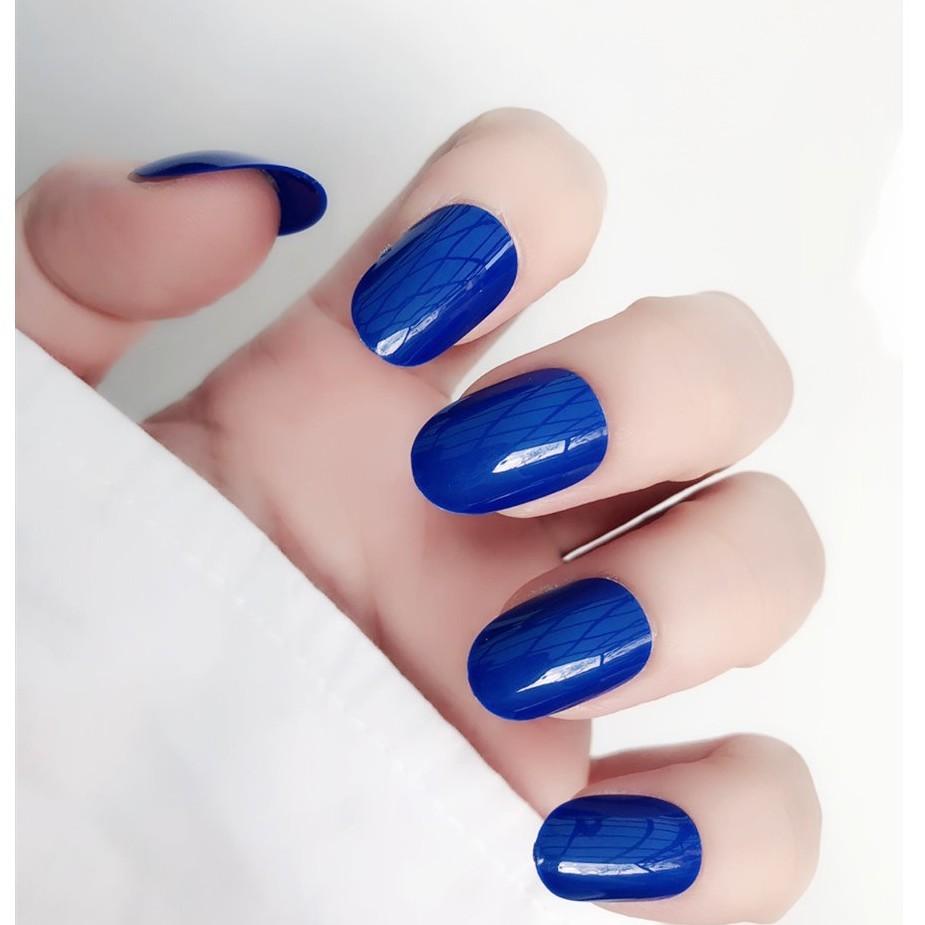寶石藍 假指甲成品美甲貼片 韓國 純色 防水持久 日系 手指甲片 ne0063
