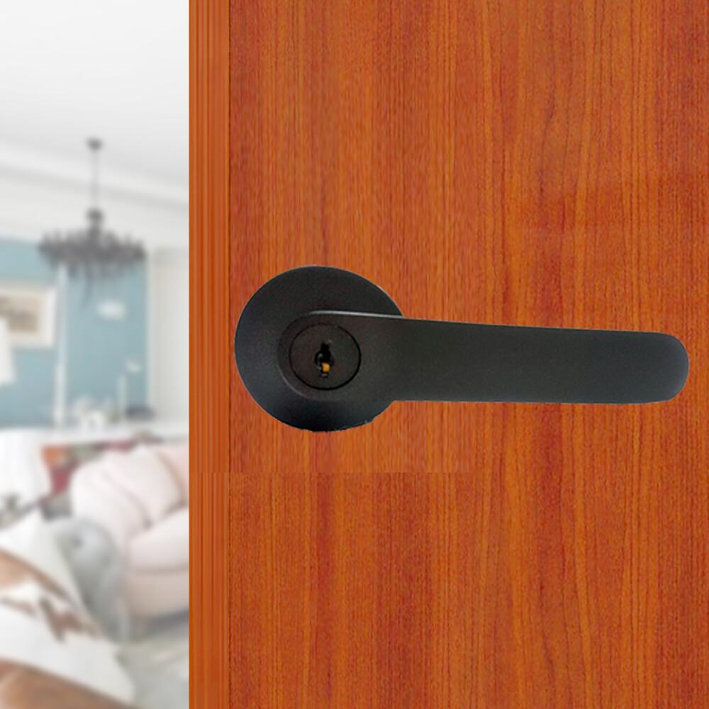 ls-700 dbk 日規水平鎖60mm 黑色 (三鑰匙) 小套盤 把手鎖 房門鎖 通道鎖 客廳鎖