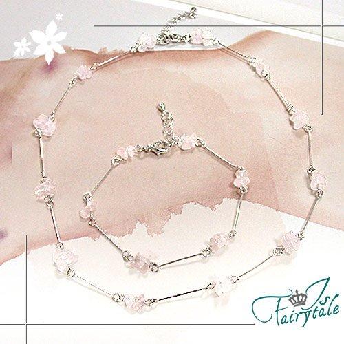 【伊飾童話】粉色桃花*戀愛粉晶項鍊/手鍊組