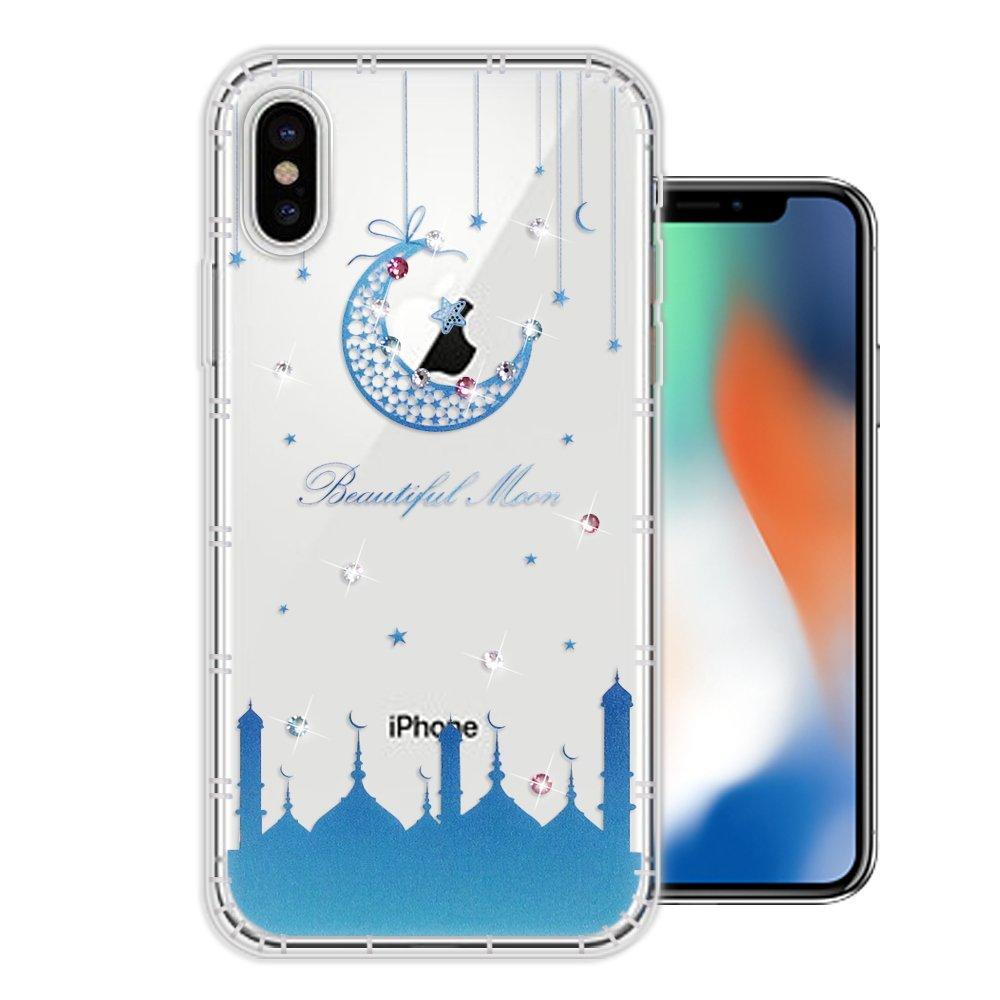 iPhone Xs / X 5.8吋 奧地利水晶彩繪空壓手機殼(月彎星辰)