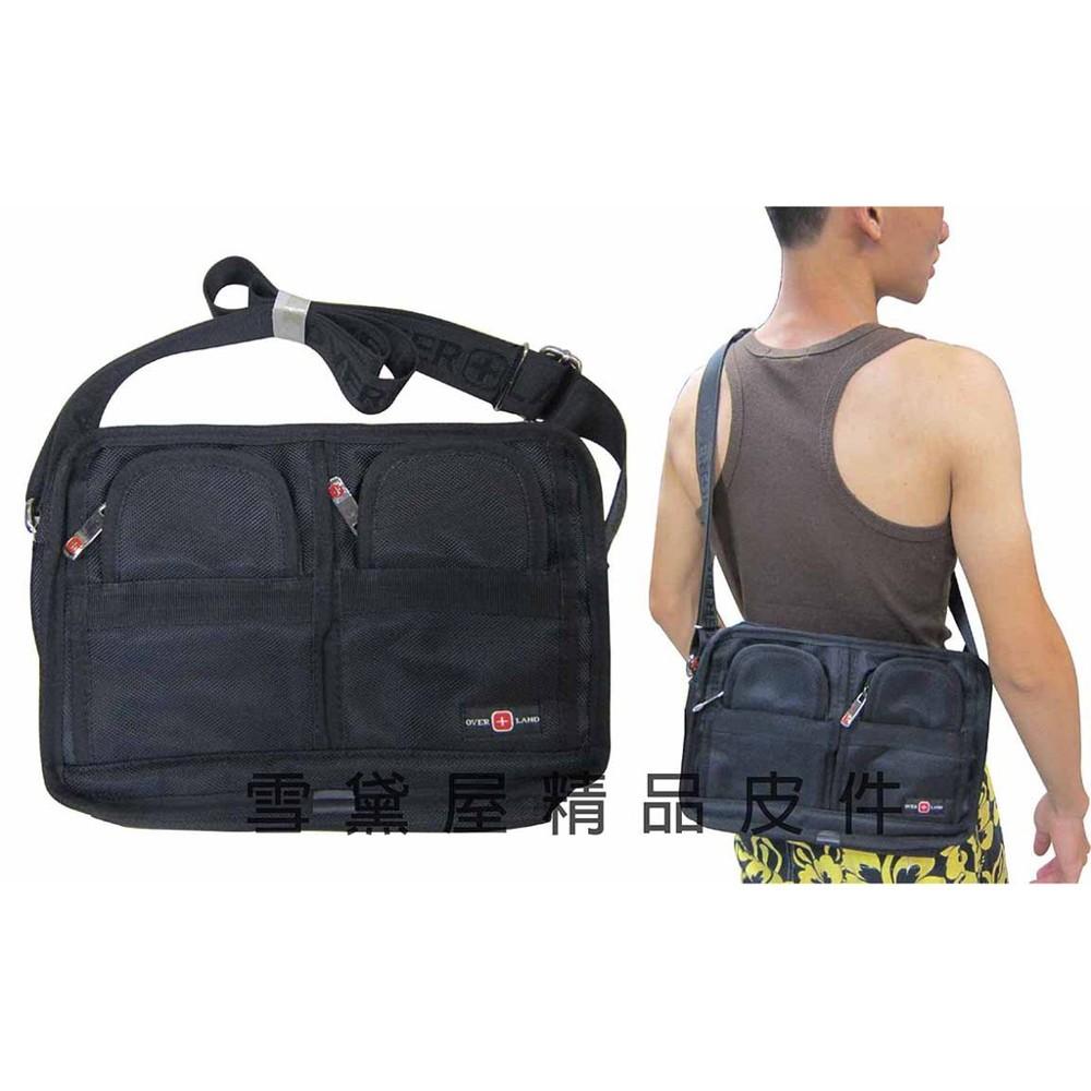 ~雪黛屋~over-land 肩側包二層拉鍊式主袋口多外袋設計隨身物品肩背可斜側背防水尼龍布材質 t