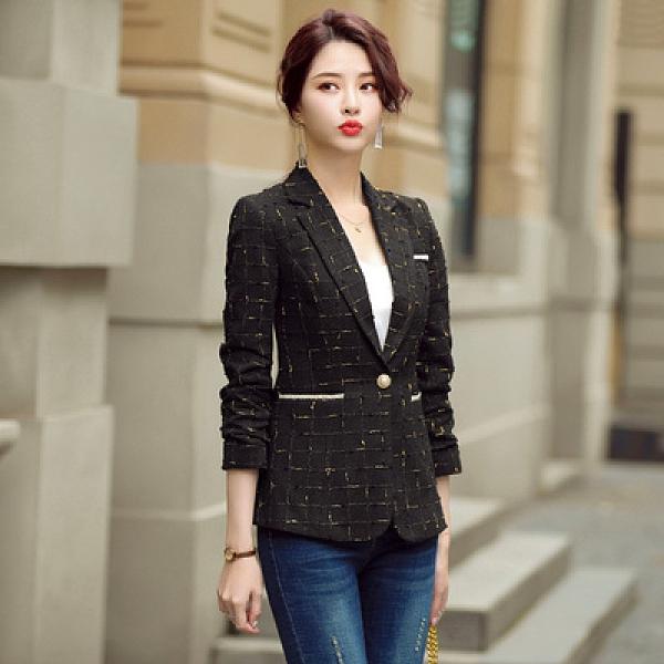 秋季格子西裝外套女2020年新款韓版小香風氣質休閒短款小西服上衣7232F3062紅粉佳人