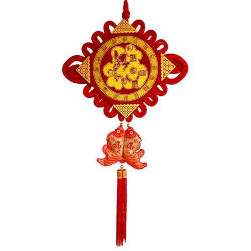 【摩達客】農曆春節新年元宵【大福氣結板雙魚串吊飾】掛飾
