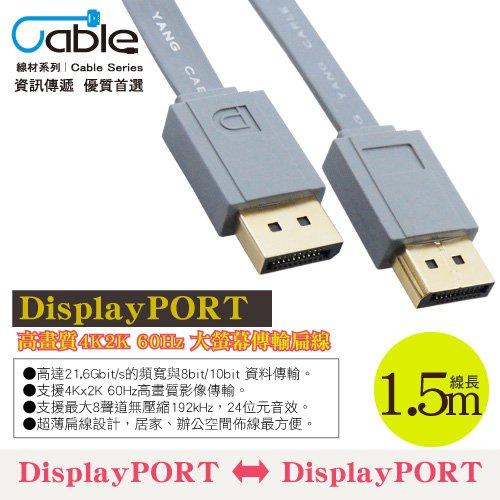 Cable 最新4K60Hz DP1.2版影音扁線 1.5公尺(F-DP015-CA)