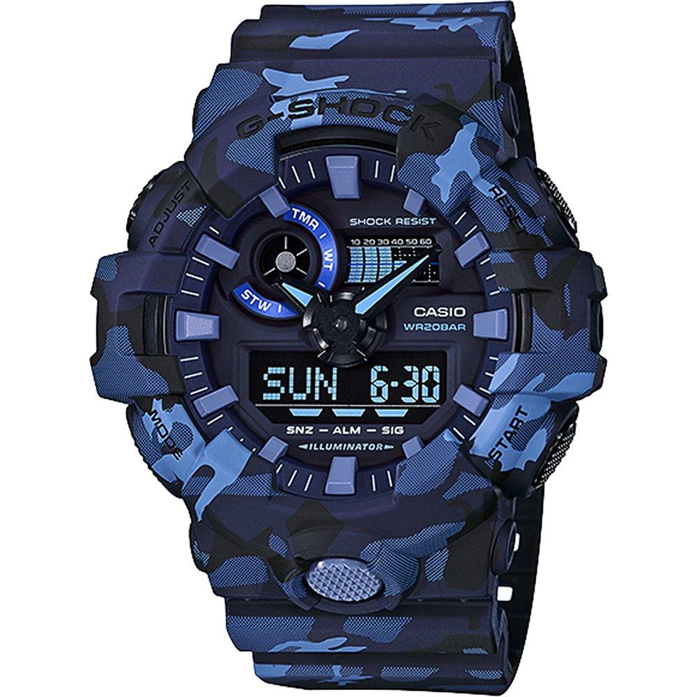 【CASIO卡西歐】G-SHOCK 強悍流行迷彩風格雙顯腕錶-軍藍 (GA-700CM-2A)