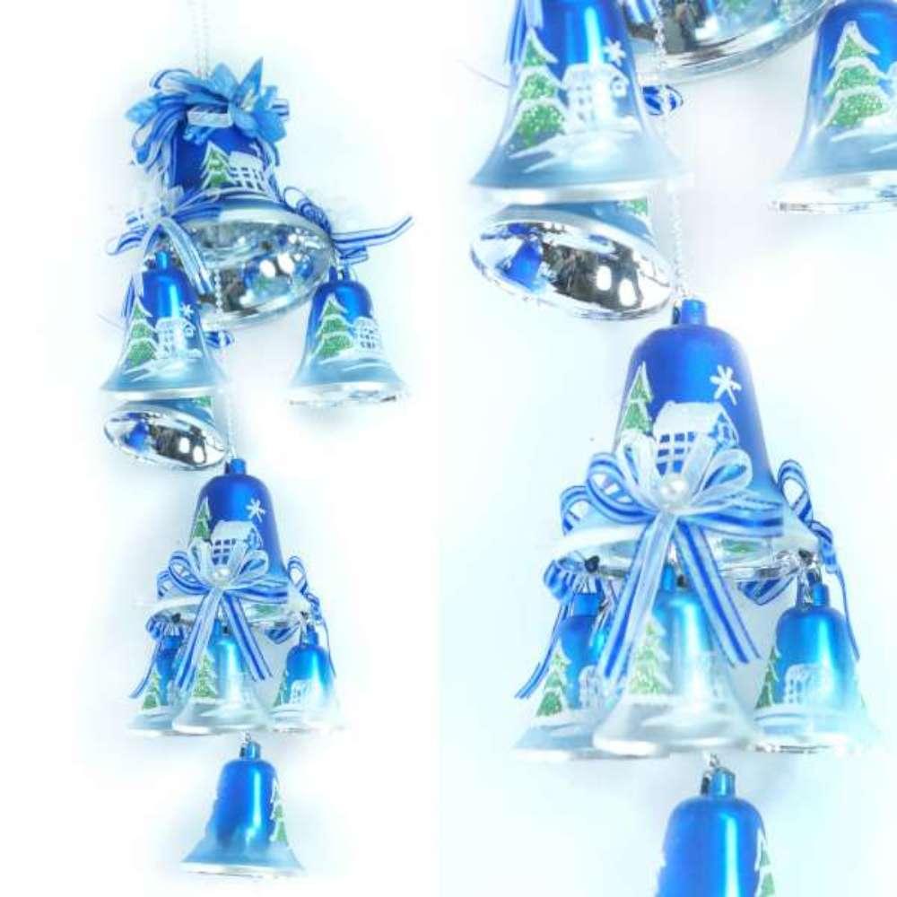 【摩達客】聖誕浪漫彩繪鐘串吊飾(藍銀色系)