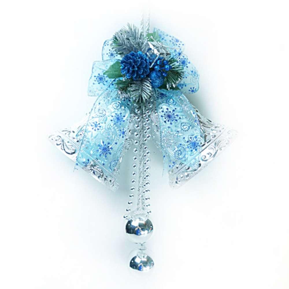 【摩達客】8吋浪漫透明緞帶雙花鐘吊飾-藍銀色