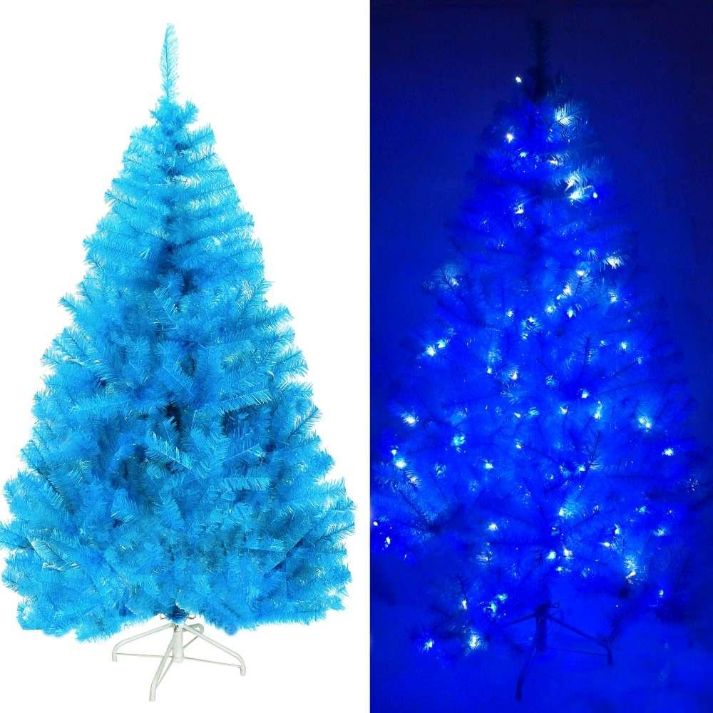 摩達客-台灣製7尺210cm豪華版晶透藍系聖誕樹不含飾品100燈LED燈藍白光2串附IC控制器