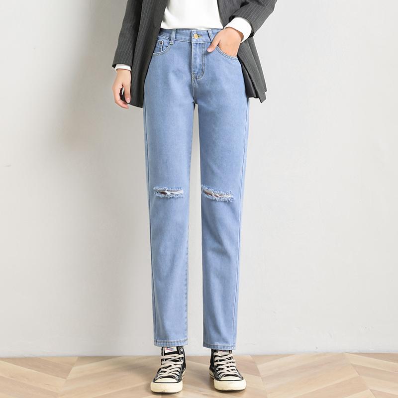 【免運】破洞牛仔褲女 時尚個性直筒學院風九分褲韓版顯瘦膝蓋破洞寬鬆直筒褲