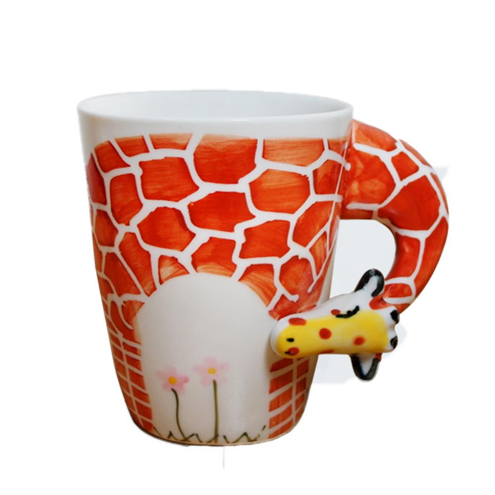 3D動物造型手繪風陶瓷杯- 長頸鹿(350ml)