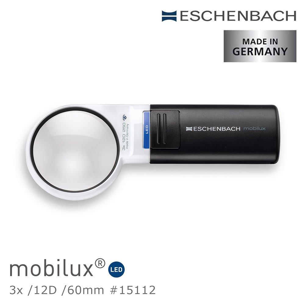 【德國 Eschenbach】mobilux LED 3x/12D/60mm 德國製LED手持型非球面放大鏡 15112