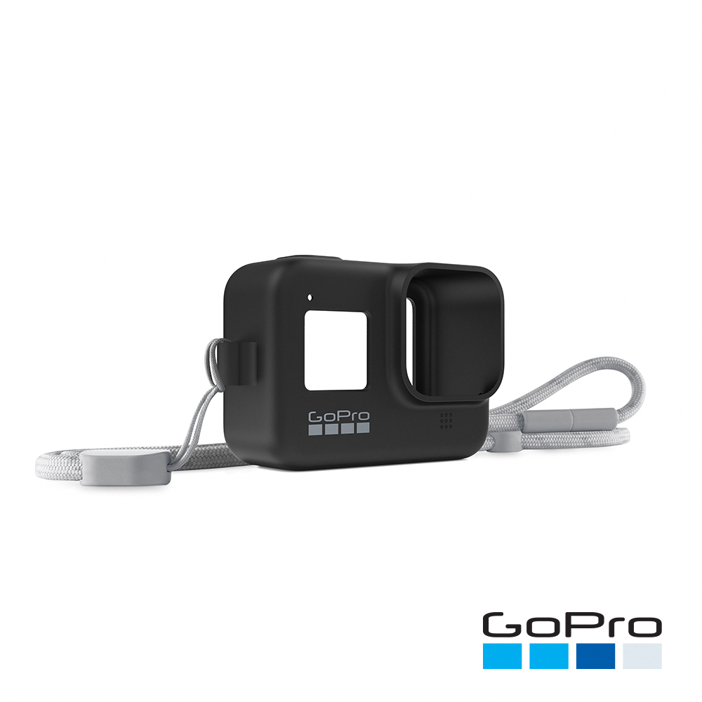 【GoPro】HERO8 Black專用矽膠護套+繫繩 子夜黑AJSST-001(忠欣公司貨)