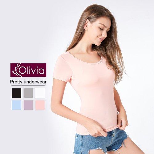 Olivia 無鋼圈莫代爾Bra短袖T恤(粉色)