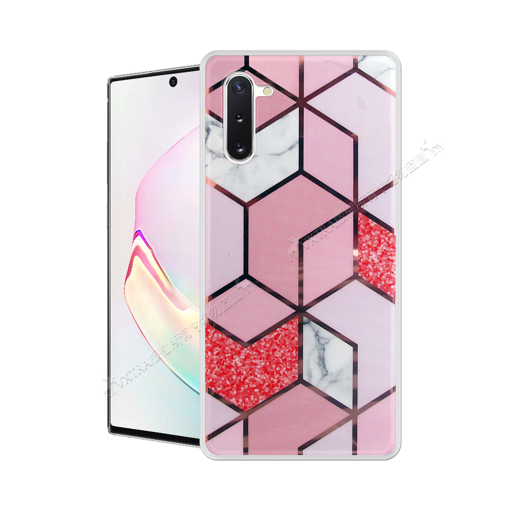 VXTRA 燙金拼接 三星 Samsung Galaxy Note10 大理石幾何手機殼 保護殼(星砂粉) 有吊飾孔