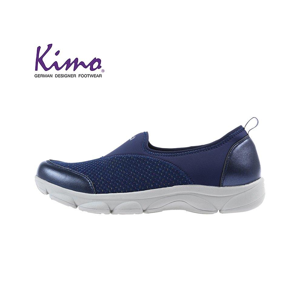【Kimo 德國品牌健康鞋】經典Q彈好走透氣萊卡懶人平底休閒鞋(沉穩藍KAIWF054366)