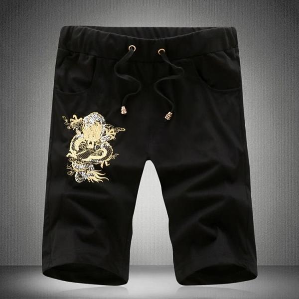 夏季新款短褲男中國風亮片龍紋刺繡休閒褲男士大碼運動褲彈力中褲 降價兩天