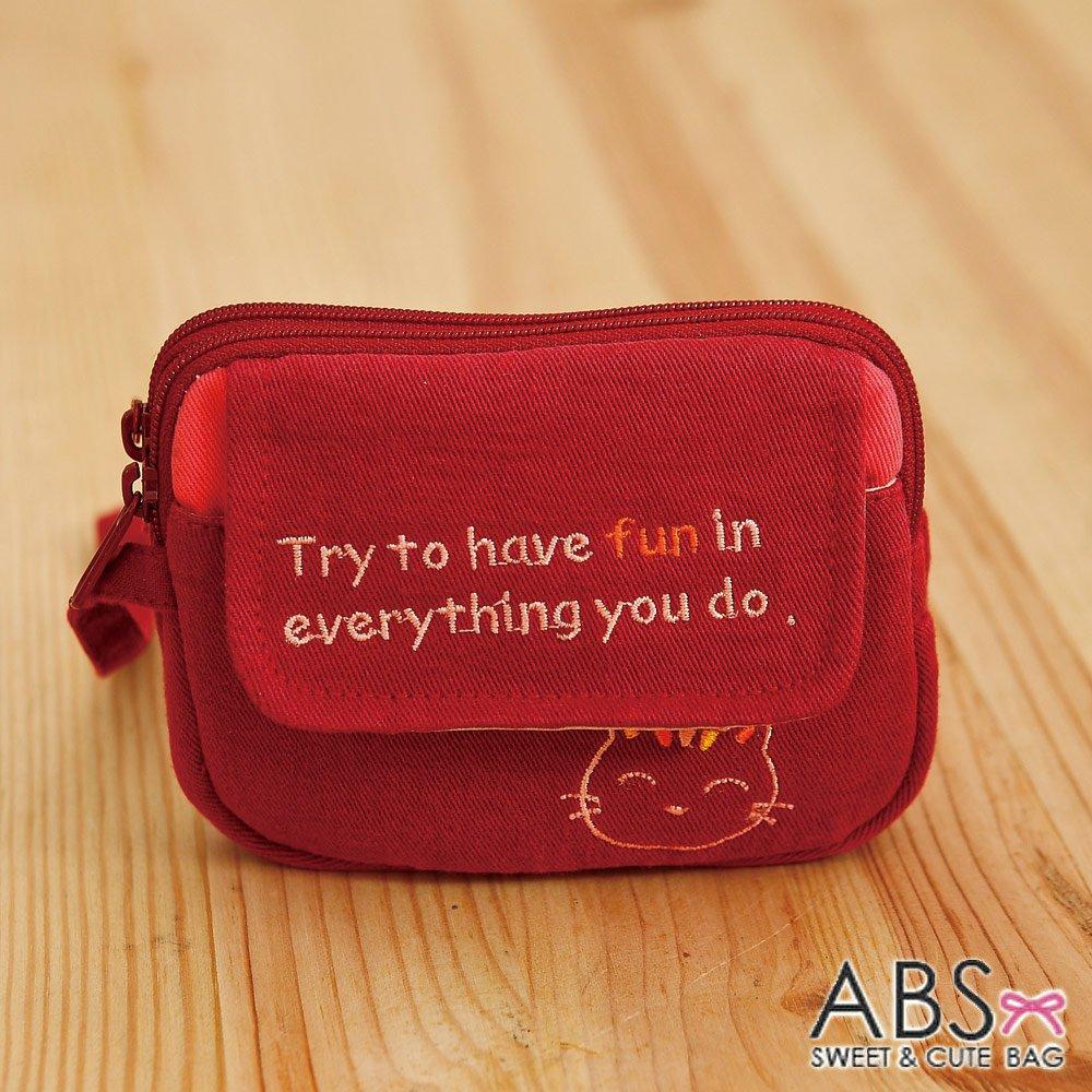ABS貝斯貓 HaveFun微笑貓咪拼布 雙層複合功能零錢包 (暗紅) 88-178